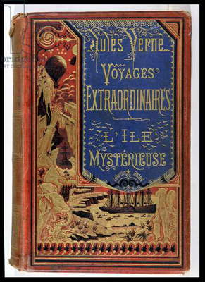 Book Cover of 'The Mysterious Island' by Jules Verne (1828-1905), editions Hetzel 1875