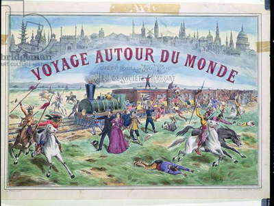 'Le Voyage Autour du Monde', cover of a box for a game based on 'Around the World in 80 Days' by Jules Verne (1828-1905) (litho)
