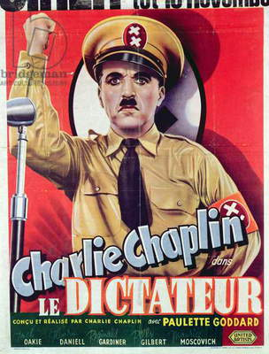 Poster advertising Charlie Chaplin's 'The Great Dictator', first released in 1940, c.1945 (colour litho)