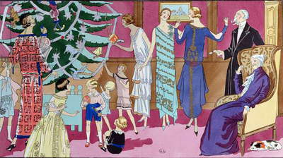 Around the Christmas Tree, fashion plate from 'Art Gout Beaute' magazine, December 1923 (coloured engraving)