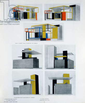 Design for a public transport interconnecting stop, electric transformer and urinal, illustration in 'L'Architecture Vivante', editions Albert Morance, published in Paris, Autumn 1925 (colour litho)