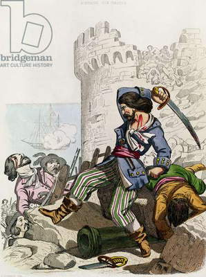 The Chevalier de Gramont, from 'Histoire des Pirates' by P. Christian, engraved by A. Catel, 1852 (coloured engraving)