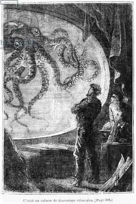 The Nautilus Passengers, illustration from '20,000 Leagues Under the Sea' by Jules Verne (1828-1905) engraved by Henri Theophile Hildibrand (1824-97) Paris, Hetzel, published 1877 (engraving) (b/w photo)