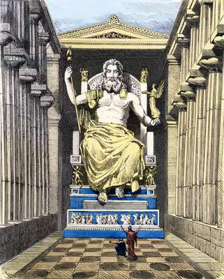 Statue of Olympian Zeus by Pheidias, from a series of the 'Seven Wonders of the Ancient World' published in 'Muenchener Bilderbogen', 1886 (colour engraving)
