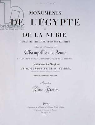 Frontispiece of the 1st Volume of 'Monuments de l'Egypte et de la Nubie' by the artist, published in Paris by Firmin-Didot, 1835 (litho)