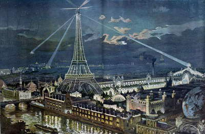 The Illuminations of the Champs de Mars Palace with the projectors placed on the Eiffel Tower during the Paris Exposition, 1900 (colour litho)