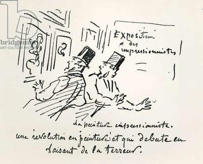 Caricature of the first Impressionist Exhibition in Paris, 'Revolution in Painting! And a terrorizing beginning', 1874 (engraving) (b/w photo)