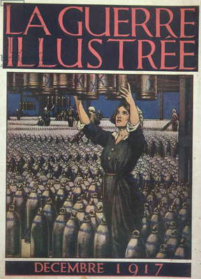 Woman working in an English munitions factory, front cover of 'La Guerre Illustree', December 1917 (colour litho)