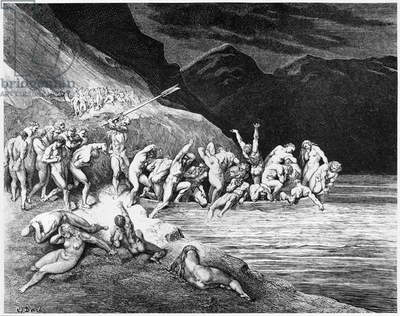 Charon, illustration from 'The Divine Comedy' (Inferno) by Dante Alighieri (1265-1321) Paris, published 1885 (engraving) (b/w photo)