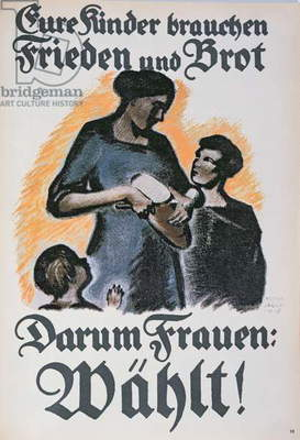 Poster urging women to vote in the German election, 1918 (colour litho)