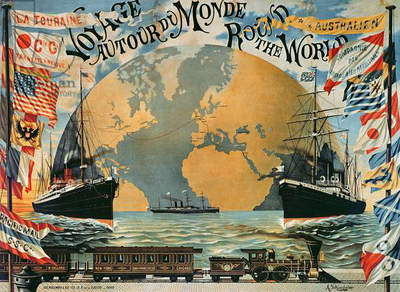 'Voyage Around the World', poster for the 'Compagnie Generale Transatlantique', late 19th century (colour litho)