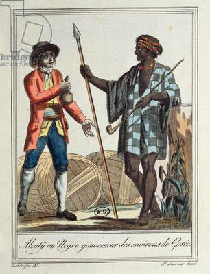 Negro governor of the Gorée district, 1796 (coloured engraving)