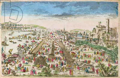 The Fair of Beaucaire and a view of Tarascon (coloured engraving)