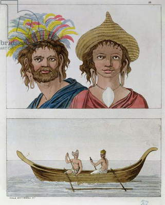 Inhabitants of Easter Island, from 'Le Costume Ancien et Moderne' by Jules Ferrario, c.1820 (coloured engraving)