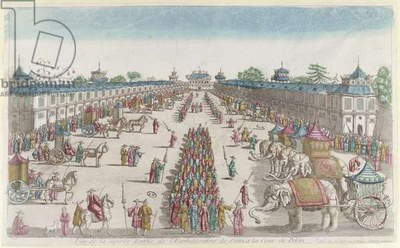 The arrival of the Siamese ambassadors at the Forbidden City in Peking on their visit to the Emperor of China, 2nd half of 18th century (colour litho)