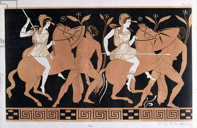Men in combat with Amazons mounted on horseback, after an antique Greek vase (colour litho)
