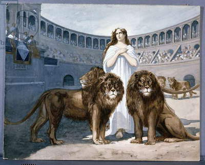 St. Blandina in the arena with lions (gouache on paper)