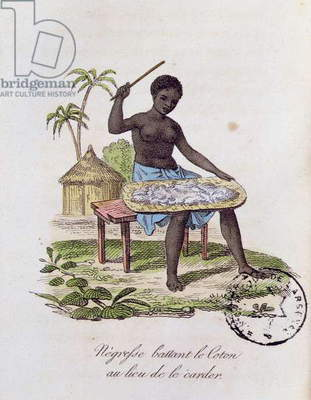 African woman beating cotton (coloured engraving)