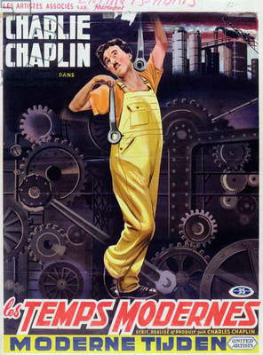 Poster advertising Charlie Chaplin in 'Modern Times', c.1936 (colour litho)