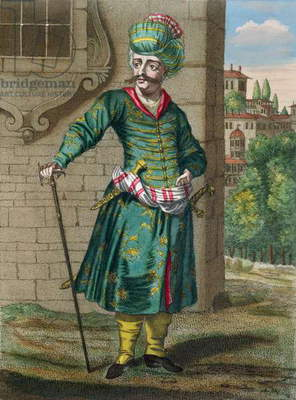 The Persian, from the 'Recueil d'Estampes sur les Costumes du Levant', engraved by Gerard Jean Baptiste Scotin (1671-1716) 1707-08 (coloured engraving)