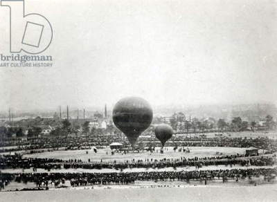 Felix Nadar's Giant Balloon in Paris, c.1863 (b/w photo)