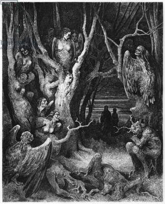 Harpies, illustration from 'The Divine Comedy' (Inferno) by Dante Alighieri (1265-1321) Paris, published 1885 (engraving) (b/w photo)