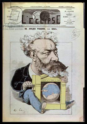 Caricature of Jules Verne (1828-1905) from 'L'Eclipse', 13th December 1874 (colour litho)