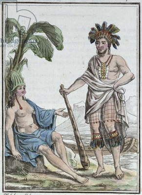 A Man and Woman from Easter Island, from 'Encyclopedie des Voyages', engraved by Mixelle, published in 1810 (coloured engraving)