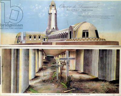 Souvenir postcard depicting the Ossuary of Douaumont, a 1st World War memorial inaugurated in 1932 containing the remains of approximately 300,000 soldiers killed at the Battle of Verdun in 1916 (colour litho)
