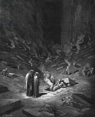 Heresiarchs, illustration from 'The Divine Comedy' (Inferno) by Dante Alighieri (1265-1321) Paris, published 1885 (engraving) (b/w photo)