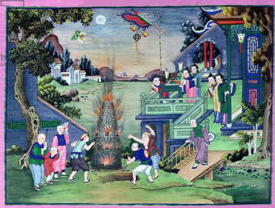 Celebration with Fireworks and Kites (painted textile)