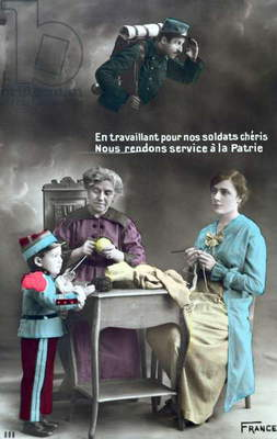 French patriotic postcard depicting the role of women during the First World War 1914-18, 1915 (colour litho)