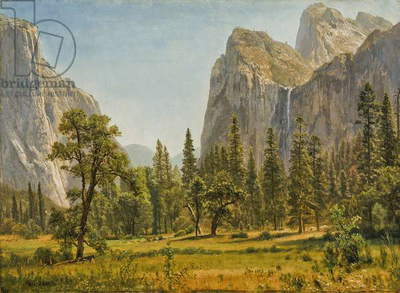 Bridal Veil Falls, Yosemite Valley, California, 1871-73 (oil on paper mounted on canvas)