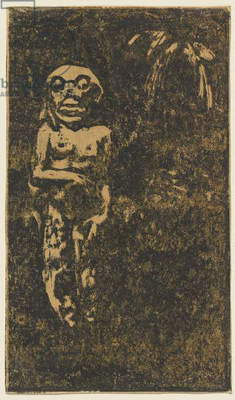 Oviri (Savage) printed by Louis Roy, 1895-1903 (woodcut in black & dark brown on tan wove paper)