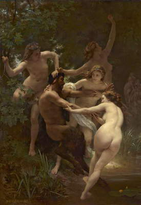 Nymphs and Satyr, 1873 (oil on canvas)