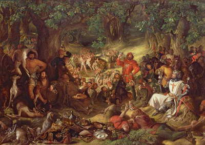 Robin Hood and his Merry Men Entertaining Richard the Lionheart in Sherwood Forest (oil on canvas)