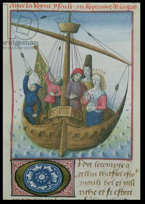 Ms 645-647/315-317 t.II fol.234r Tristan and Iseult in a Boat, from the Roman de Tristan (vellum)