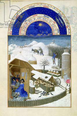 Ms 65/1284 f.2v February: farmyard scene with peasants, from the 'Tres Riches Heures du Duc de Berry' (vellum) (for fascimile copy see 65824)