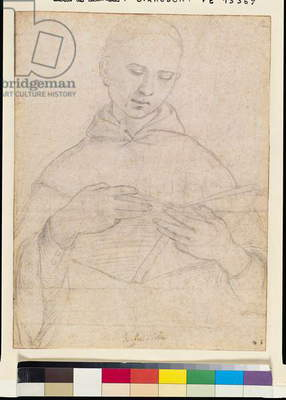 Young Monk Reading (charcoal on paper)