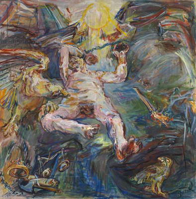 Prometheus, panel from the Myth of Prometheus Triptych, 1950 (mixed media on canvas) (see also 65752-65753)