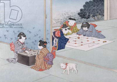 Backgammon and Musashi from the series 'Children's Games', 1888 (colour woodcut)
