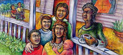 Front Porch Conversations, 2001 (acrylic on canvas)