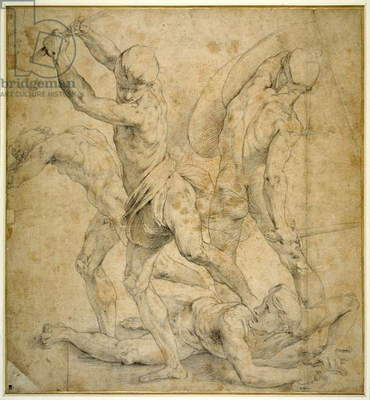 The panel beneath the statue of Apollo in 'The School of Athen's', after a drawing by Raphael (black chalk on paper)