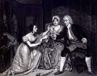 Mr Blanchard, Mrs Davenport and Miss M. Tree as Peachum, Mrs Peachum and Polly in 'The Beggar's Opera', engraved by Conrad Cooke, pub. 1825 (engraving)