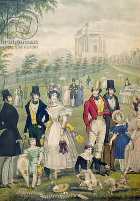 View of the Green Park, London, showing the fashions of the time, detail of the left hand side, c.1830 (colour litho) (see also 122099)