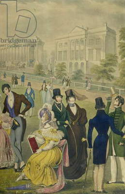 View of the Green Park, London, showing the fashions of the time, detail of the right hand side, c.1830 (colour litho) (see also 122098)