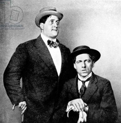Guillaume Apollinaire, French poet, here with his friend Vsevolod Meyerhold before the First World War (b/w photo)