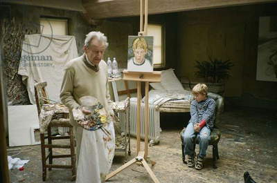 Lucian Freud at work on 'Albie', 2003-04 (photo)