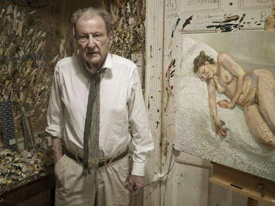 Lucian Freud at his studio with 'Perienne Christian', 2011 (photo)