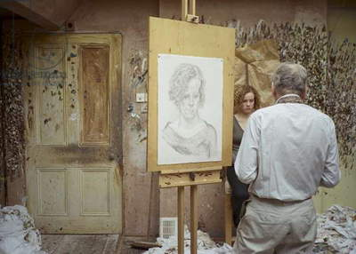 Lucian Freud at work on 'Nicola Chambers', 2004 (photo)